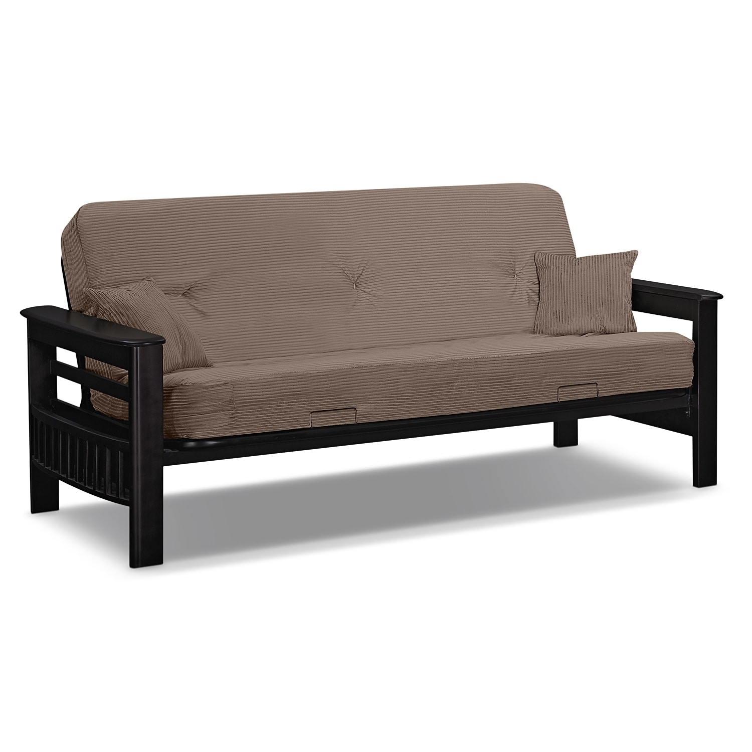 Tampa futon sofa bed beige value city furniture and for Sofa becomes bed