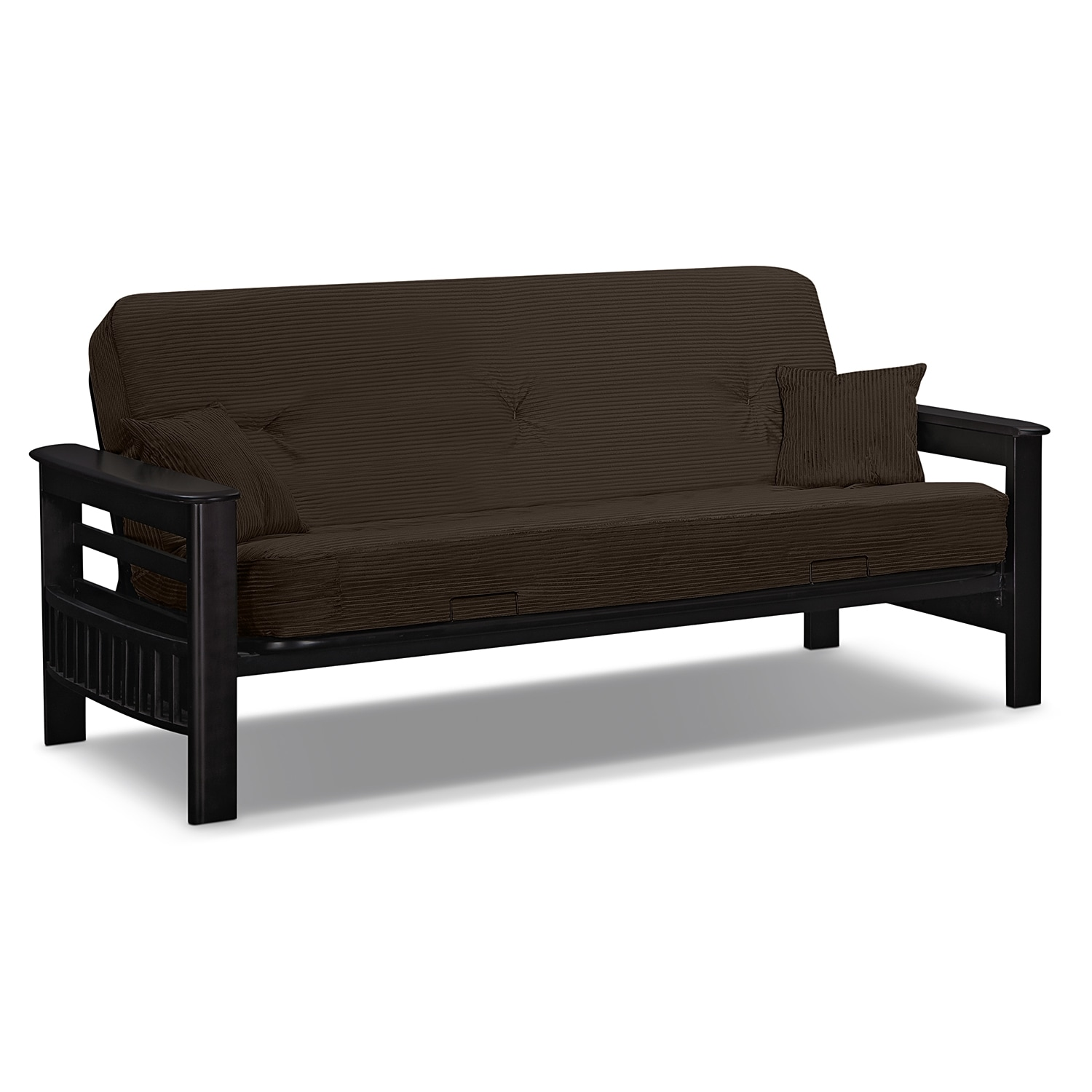Living Room Furniture - Tampa Futon Sofa Bed - Brown