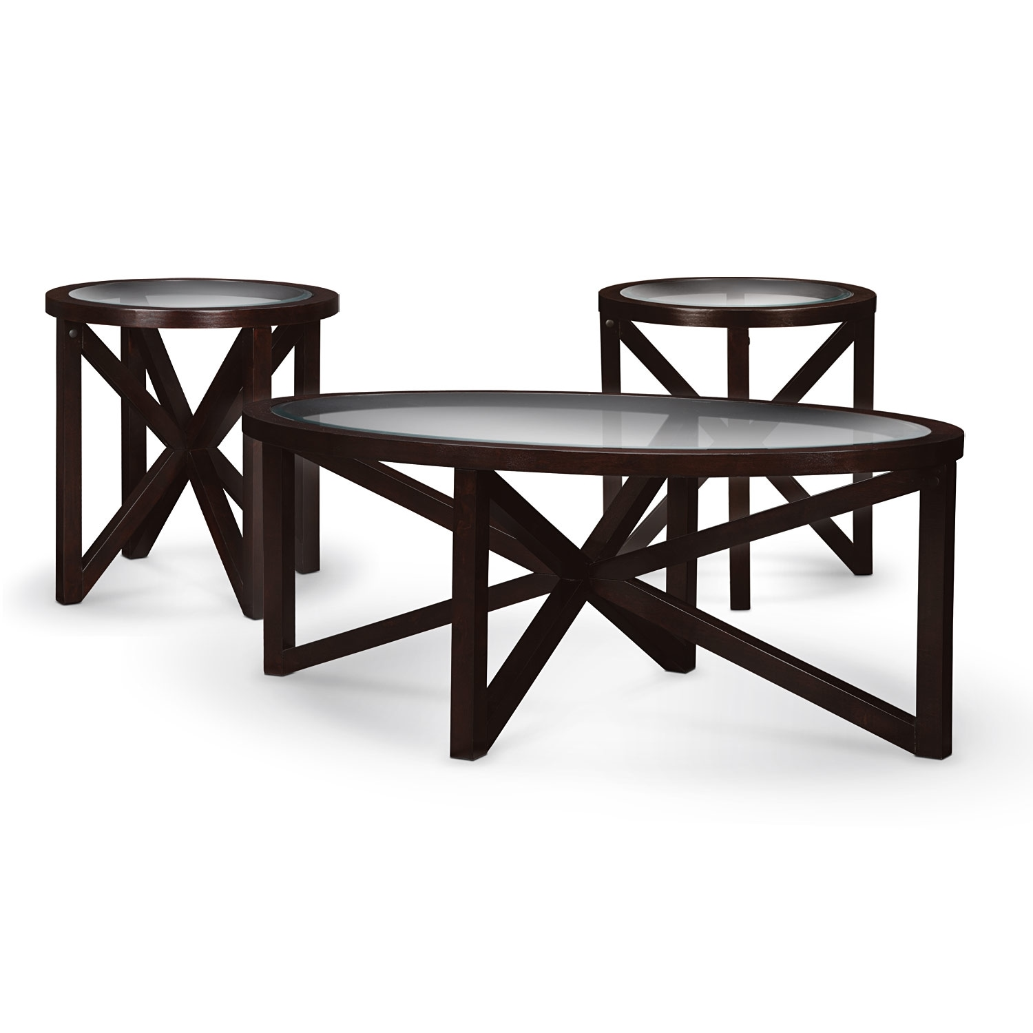 Starburst Cocktail Table and 2 End Tables - Merlot