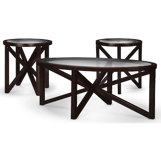 Starburst Coffee Table and 2 End Tables - Merlot