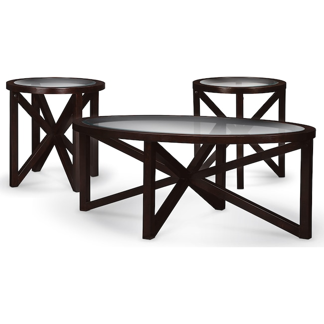 Accent and Occasional Furniture - Starburst Cocktail Table and 2 End Tables - Merlot