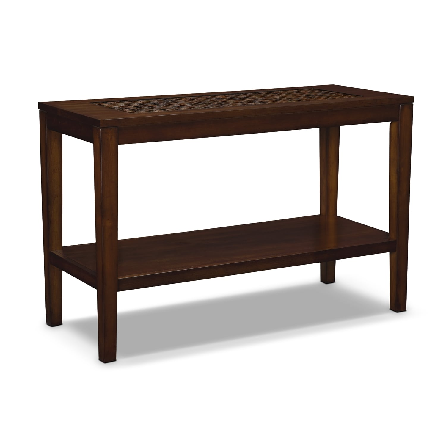 Carson sofa table brown value city furniture and for Sofa side table