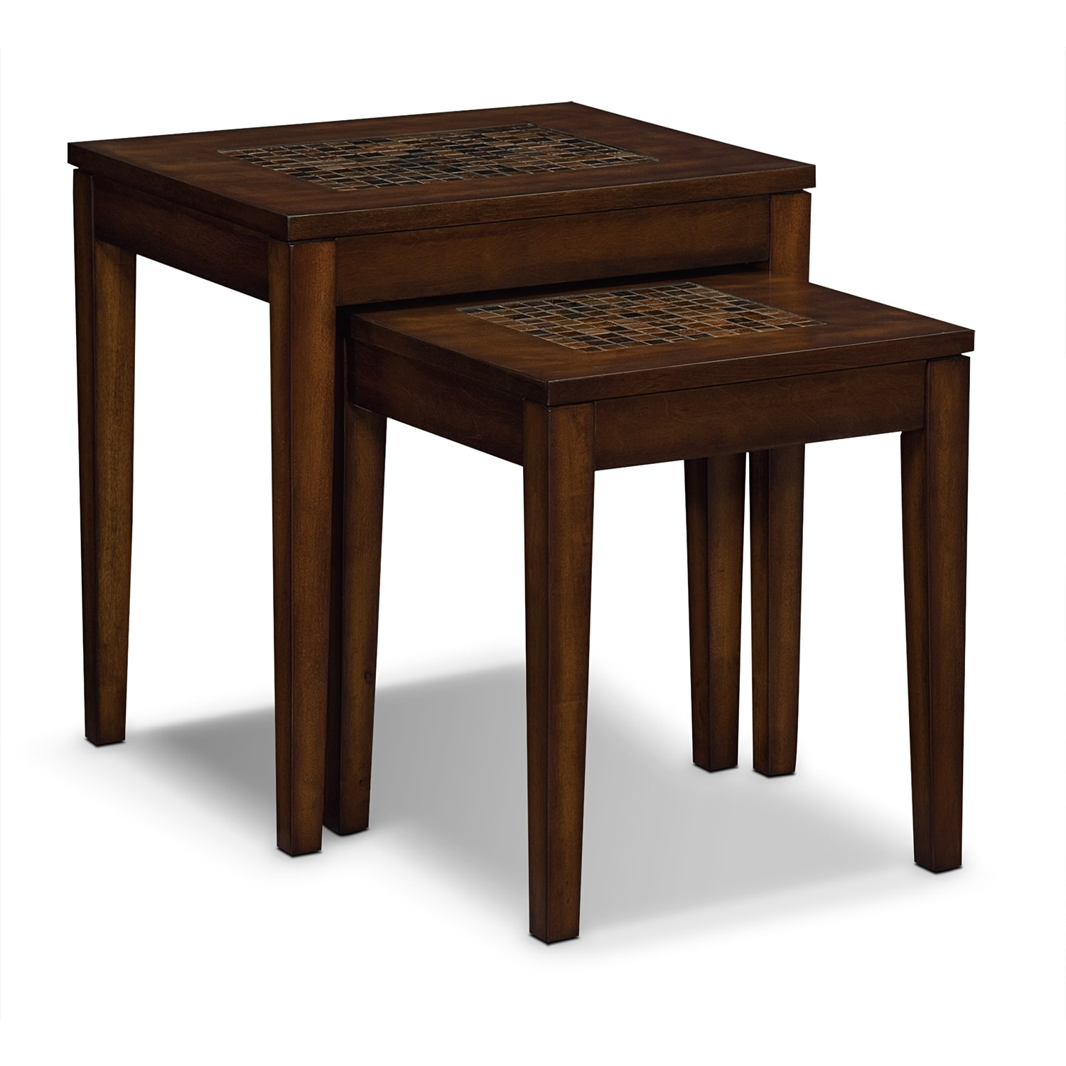 Carson Nesting Tables Brown Value City Furniture And Mattresses - Nesting table with drawer