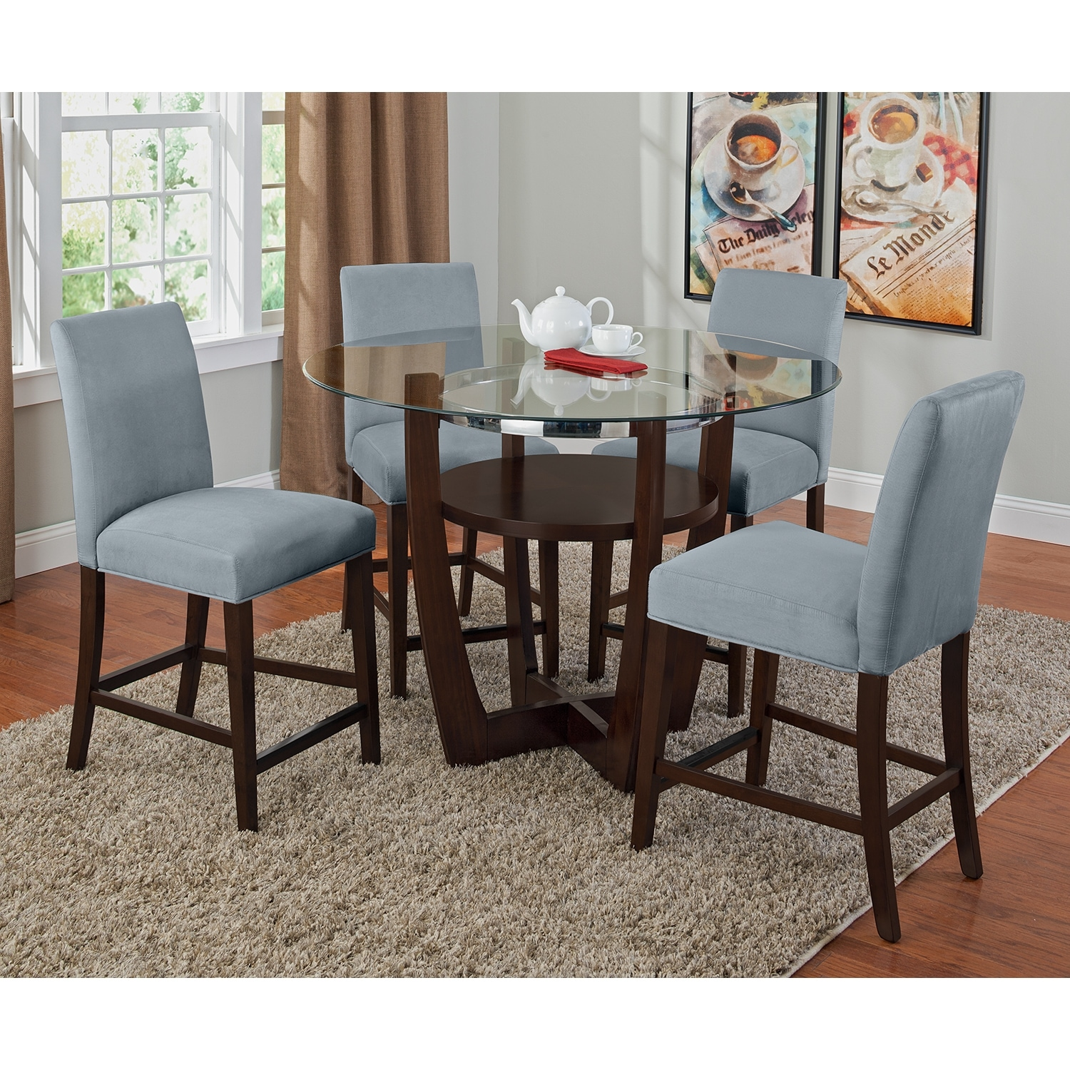 alcove counter height dinette with 4 side chairs aqua by factory