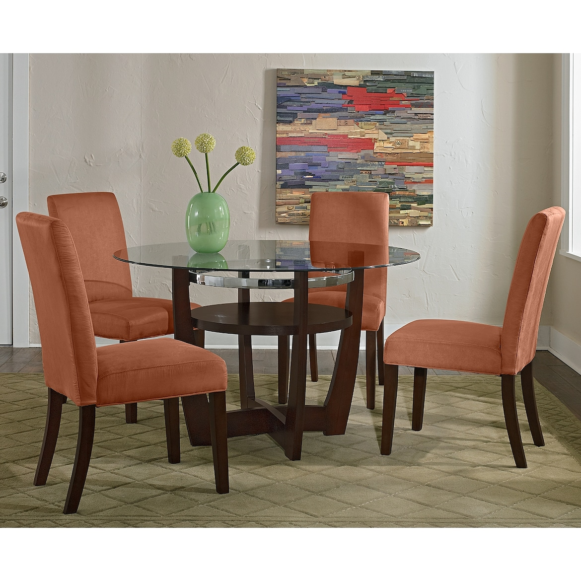 City Furmiture: Alcove Dinette With 4 Side Chairs - Orange