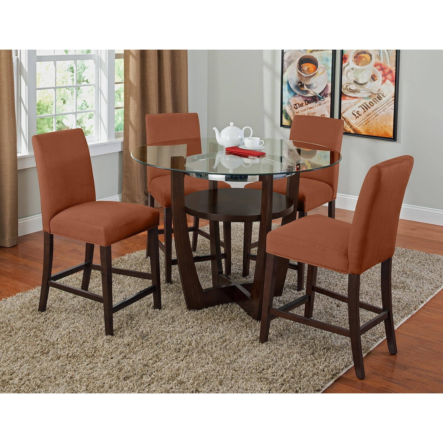 alcove counter height dinette with 4 side chairs orange value