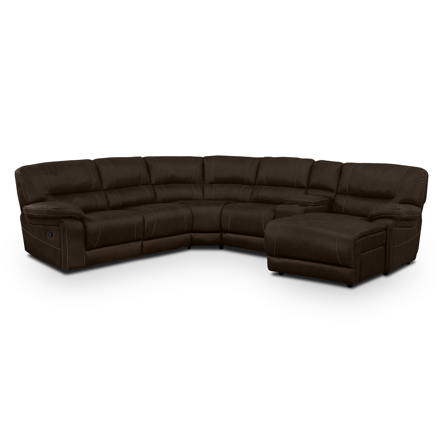 Living Room Furniture - Wyoming 5-Piece Reclining Sectional with Right-Facing Chaise - Saddle Brown
