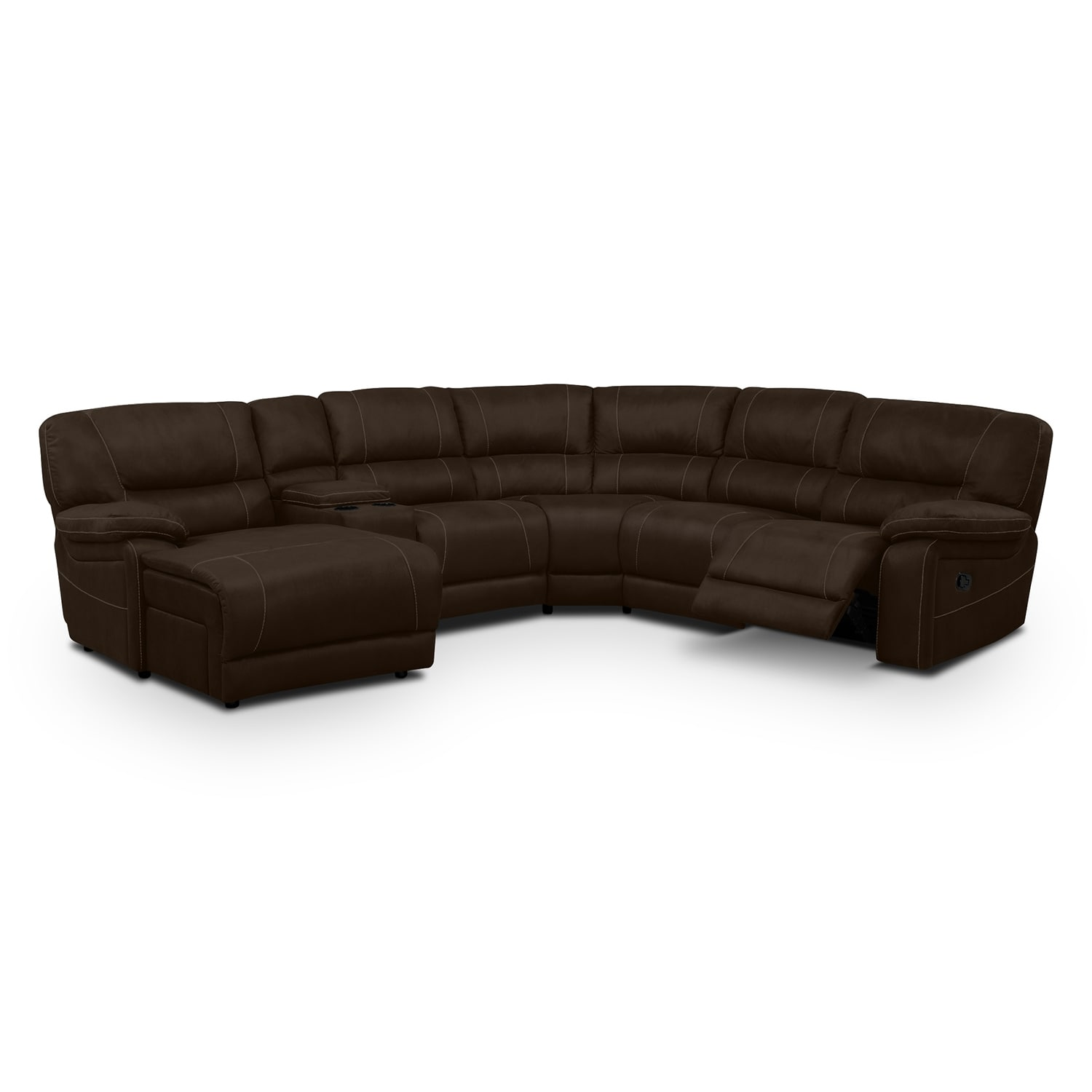 Living Room Furniture - Wyoming 5-Piece Reclining Sectional with Left-Facing Chaise - Saddle Brown