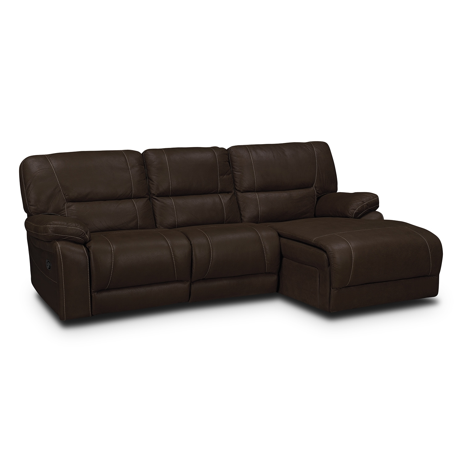 Living Room Furniture - Wyoming 2-Piece Reclining Sectional with Right-Facing Chaise  - Saddle Brown