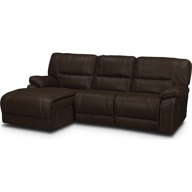 Living Room Furniture - Wyoming 2-Piece Reclining Sectional with Left-Facing Chaise  - Saddle Brown