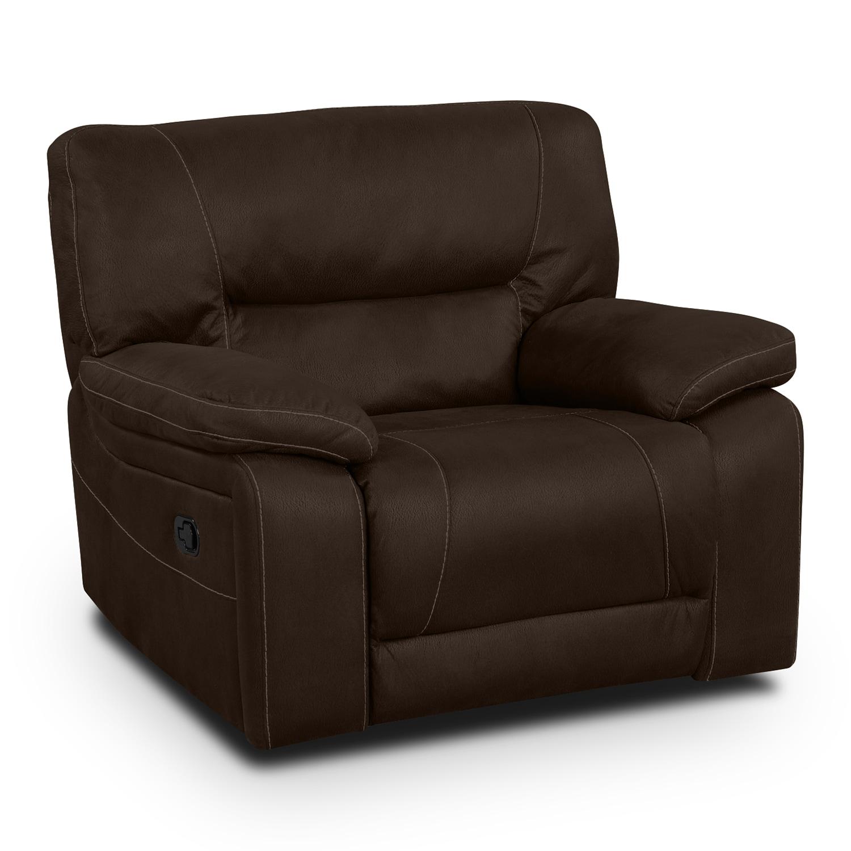 Living Room Furniture - Wyoming Glider Recliner - Saddle Brown