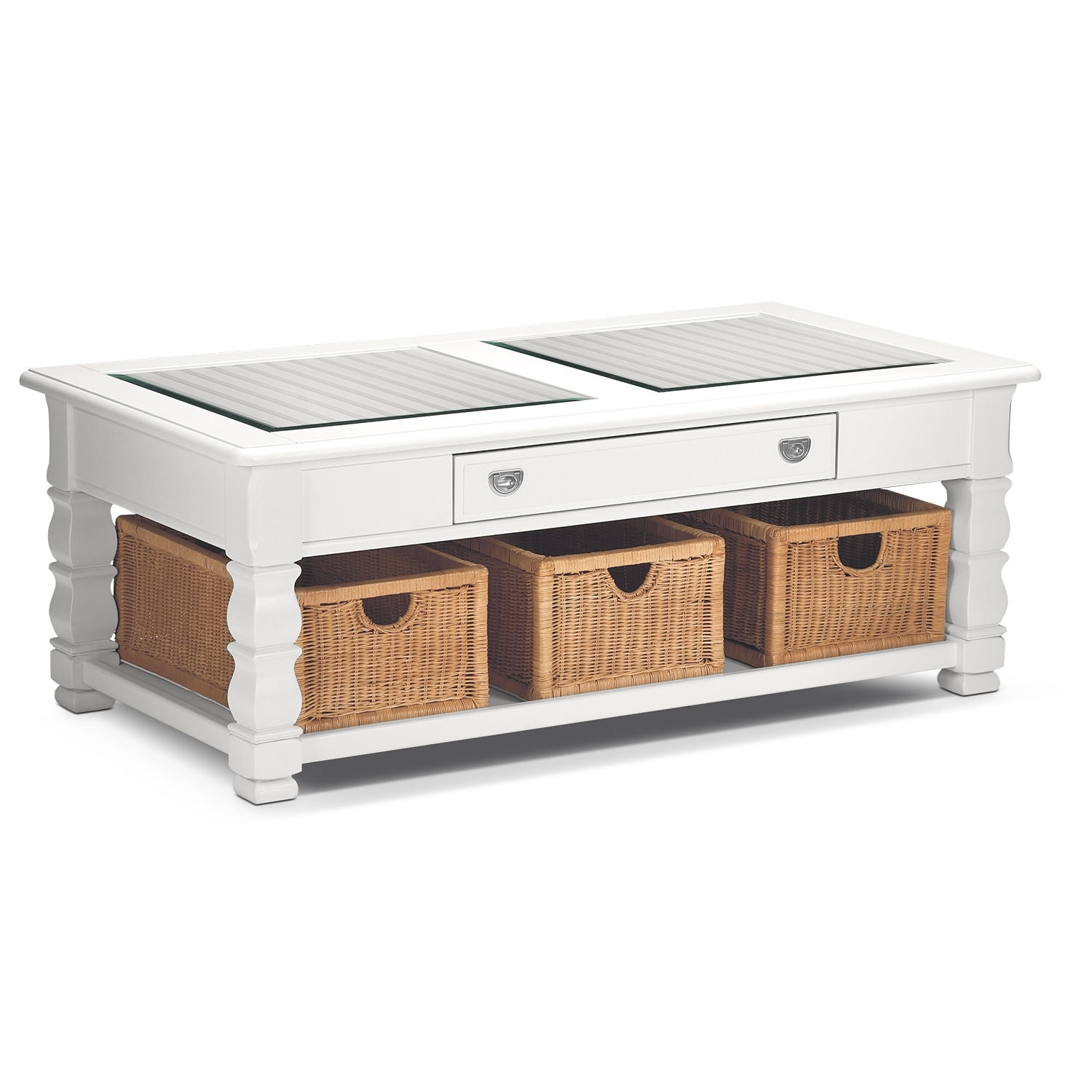 [Plantation Cove White Cocktail Table]