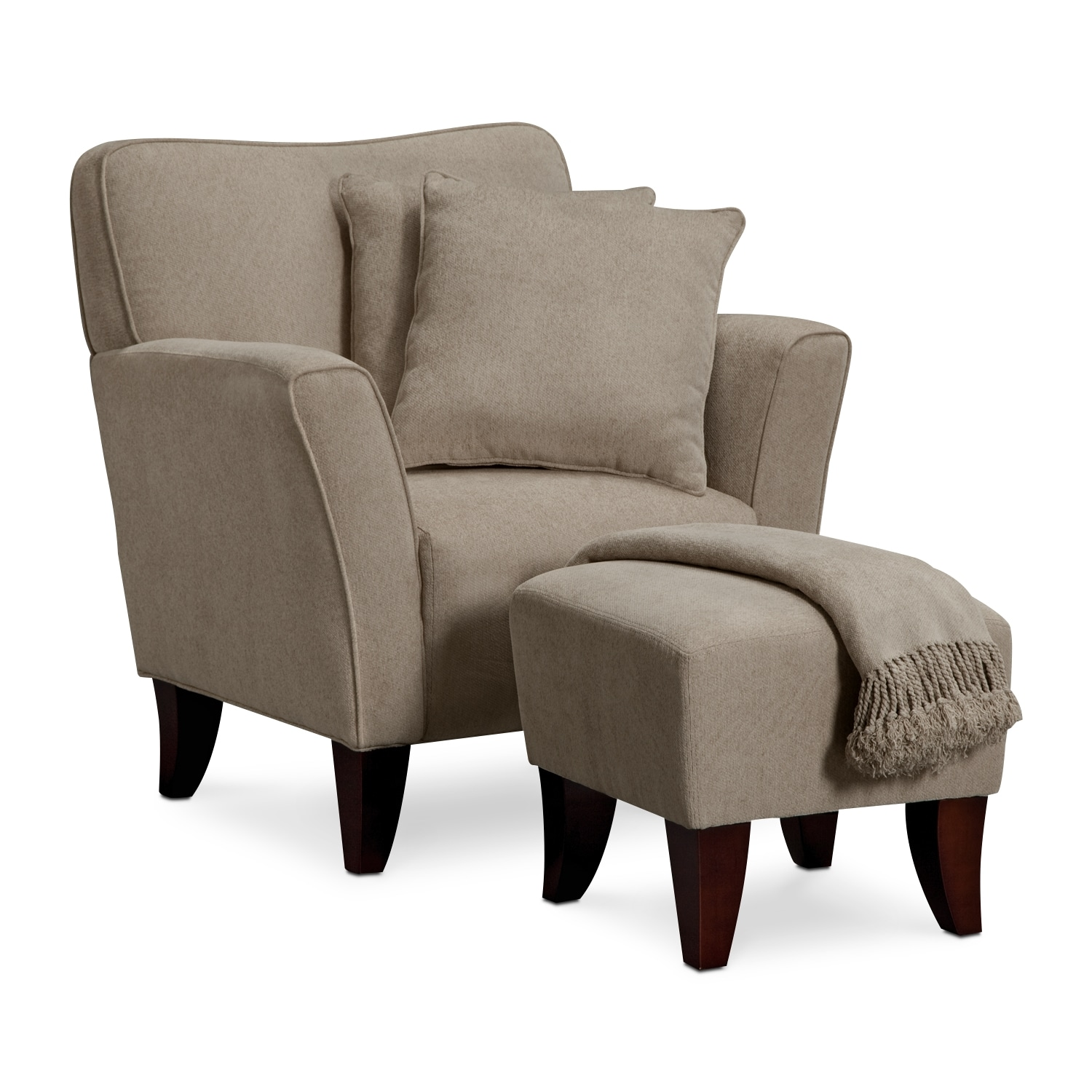 Living Room Furniture - Celeste Chair, Ottoman, Pillows and Throw - Taupe