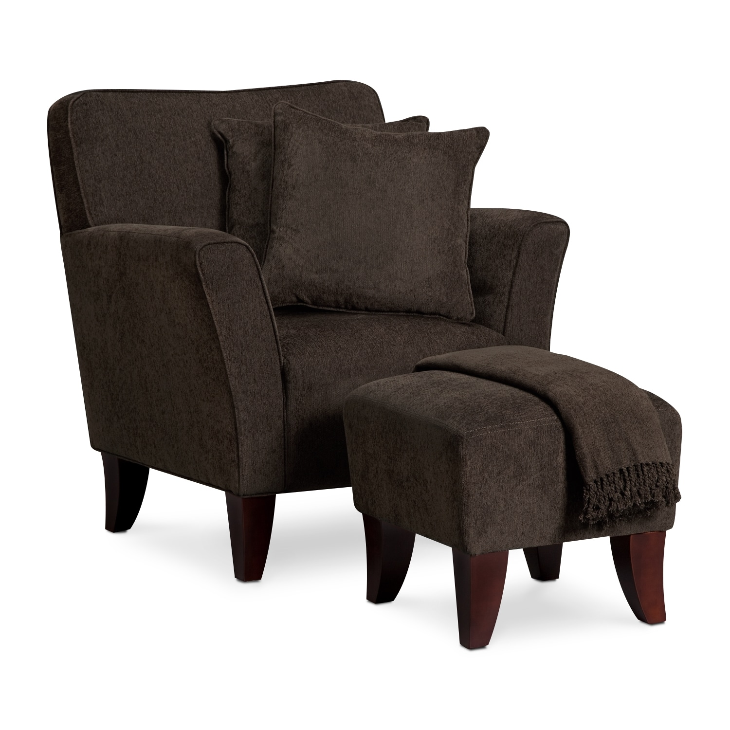 Living Room Furniture - Celeste Chair, Ottoman, Pillows and Throw - Chocolate