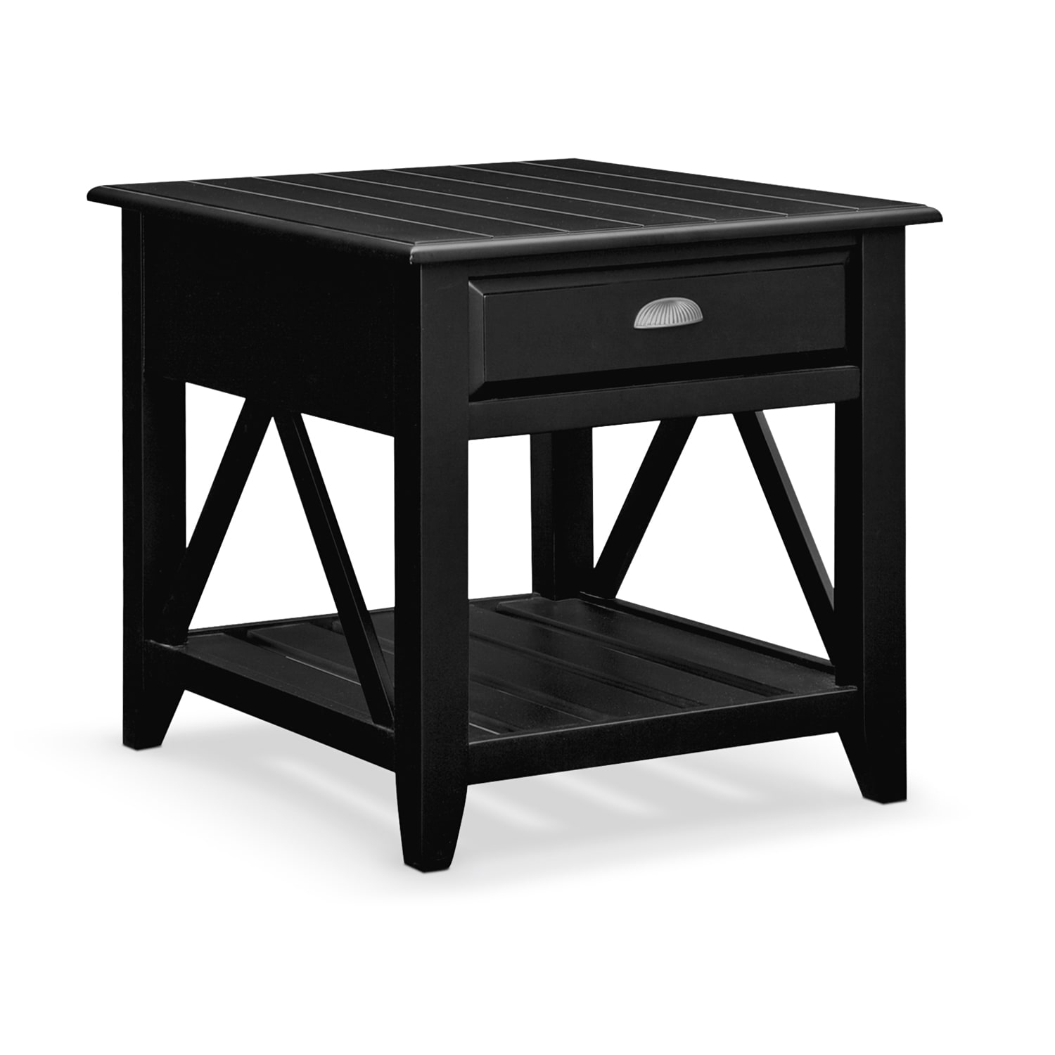 Plantation Cove Coastal End Table Black