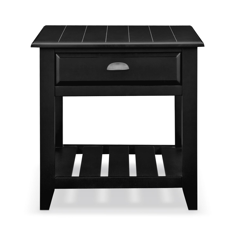plantation cove coastal end table  black  value city furniture - click to change image