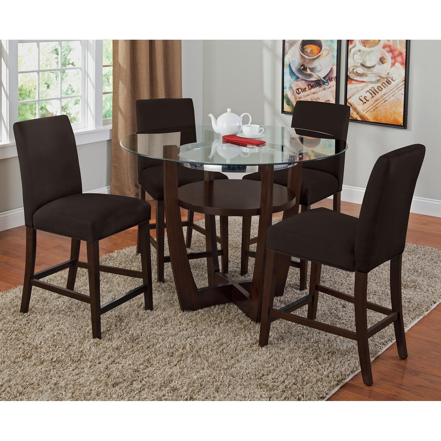 Alcove Counter Height Dinette with 4 Side Chairs Chocolate