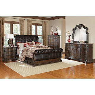 Monticello Pecan Upholstered Sleigh Bed