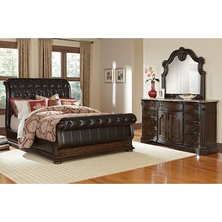 Monticello 5-Piece Queen Upholstered Sleigh Bedroom Set - Pecan
