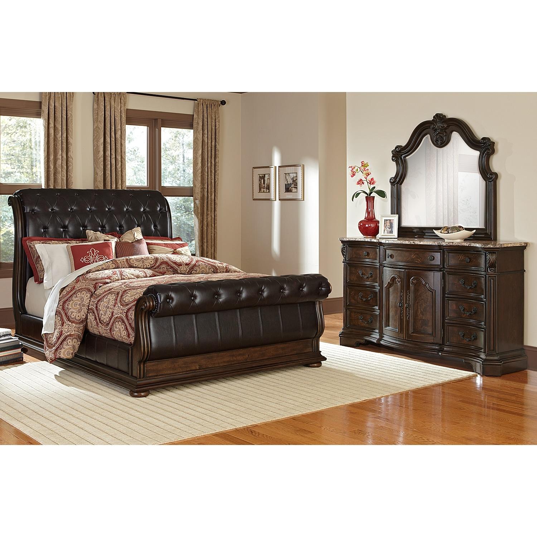 Monticello 5 Piece Queen Upholstered Sleigh Bedroom Set   Pecan
