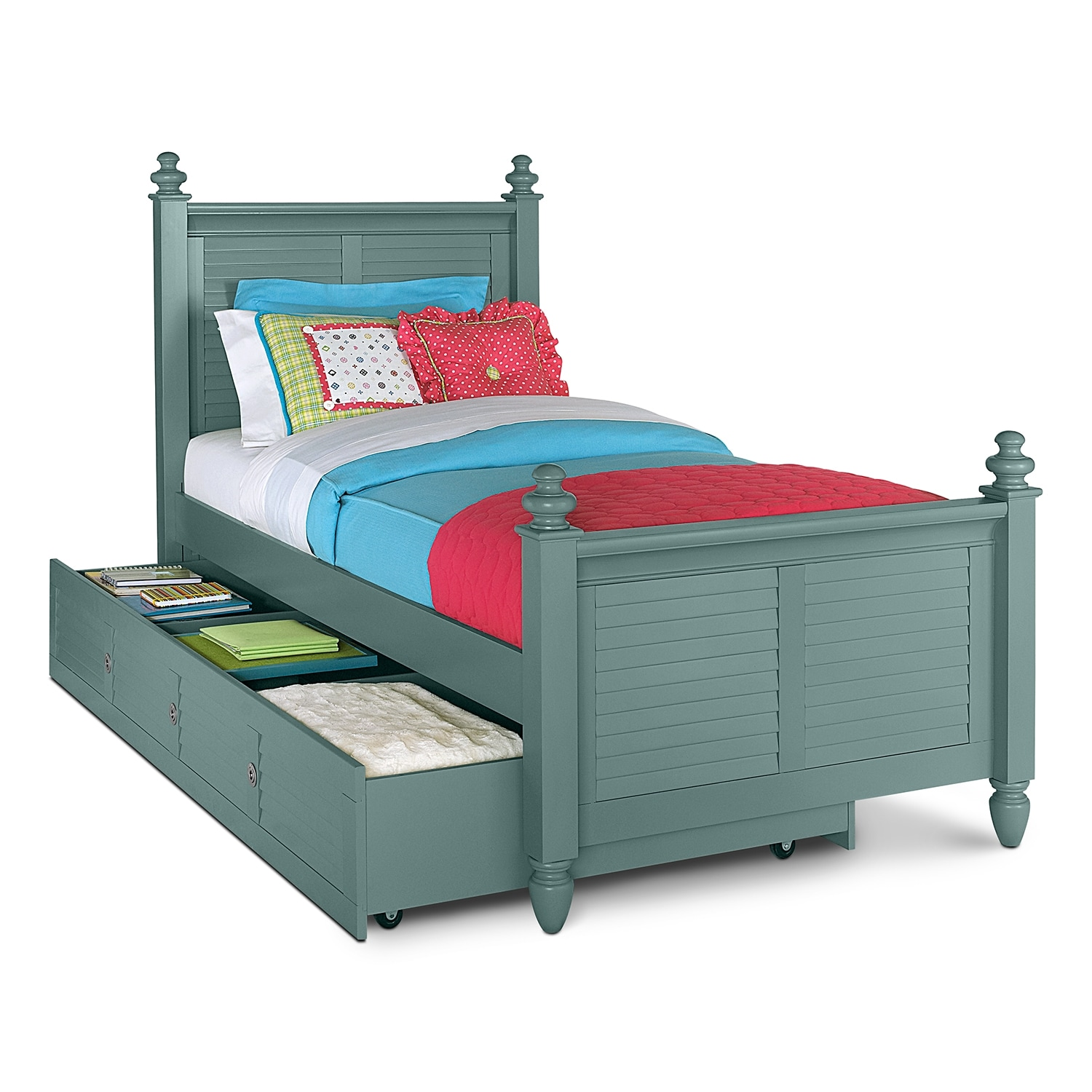 Seaside Blue Full Bed with Trundle