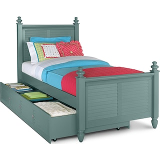 Seaside Twin Bed with Trundle - Blue
