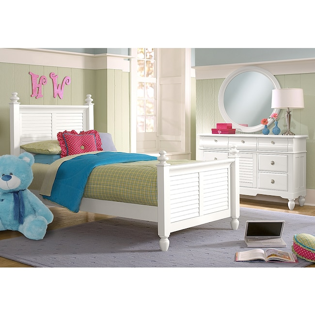 Kids Furniture - Seaside 5-Piece Full Bedroom Set - White