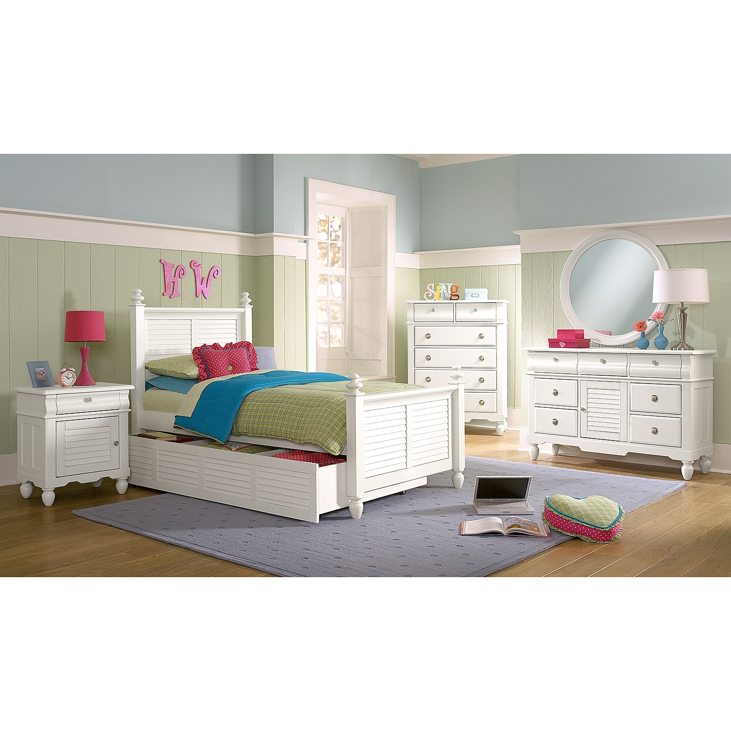 Seaside Twin Bed With Twin Trundle White Value City