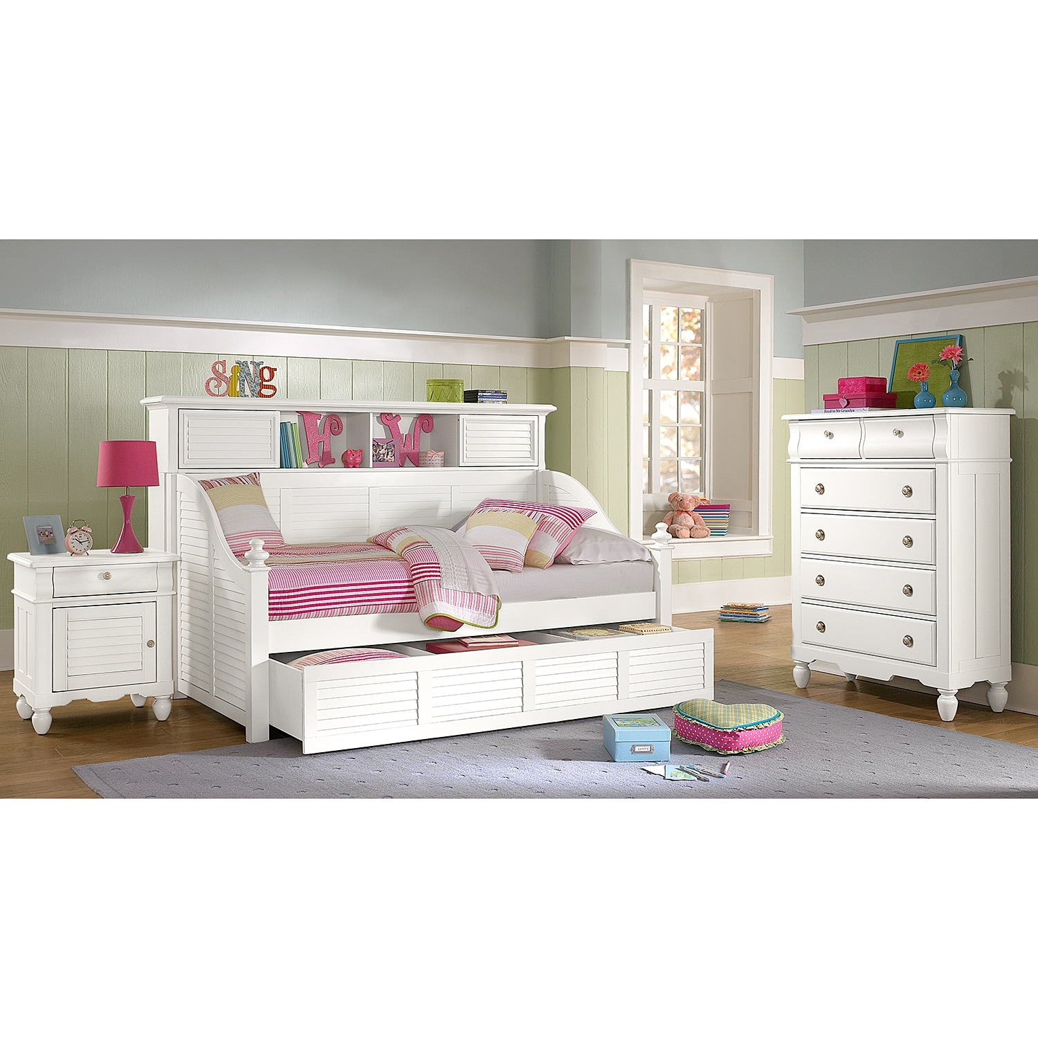Click to change image. - Seaside Twin Bookcase Daybed With Trundle - White Value City