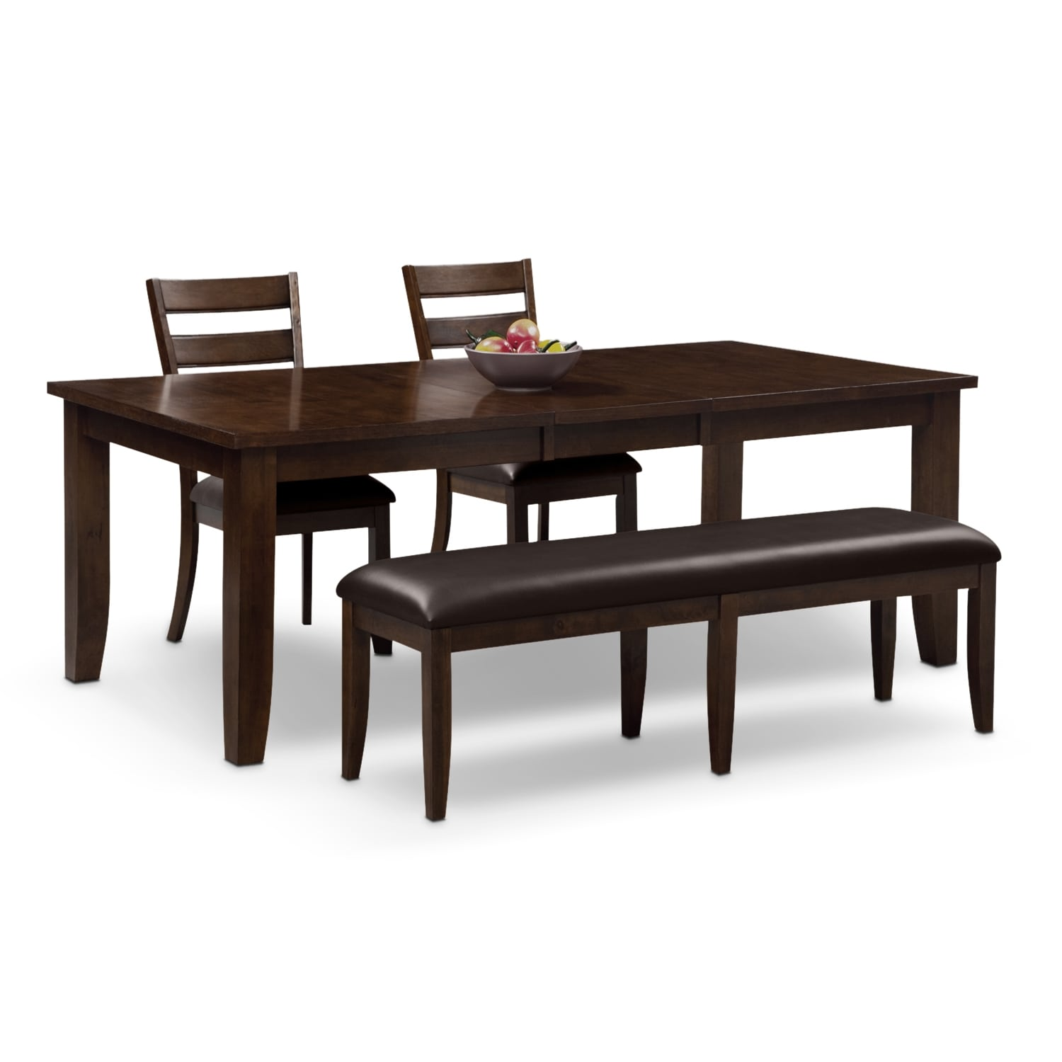 Abaco table 2 chairs and bench brown value city for Dining room table for 2