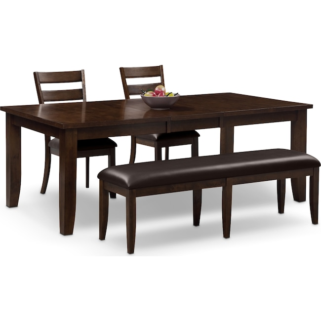 Abaco Table, 2 Chairs And Bench - Brown | Value City Furniture