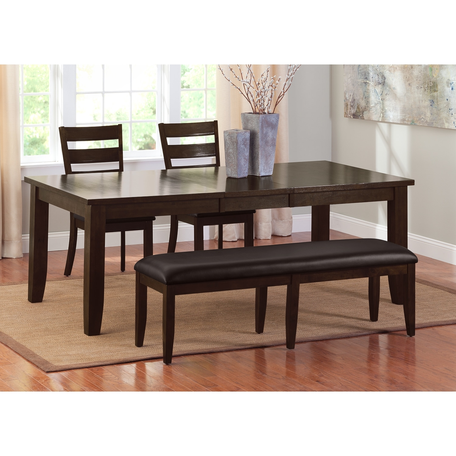 Abaco Table 2 Chairs and Bench Brown