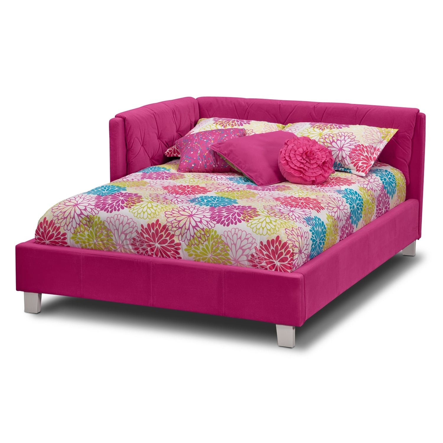 Jordan Full Corner Bed - Pink : Value City Furniture