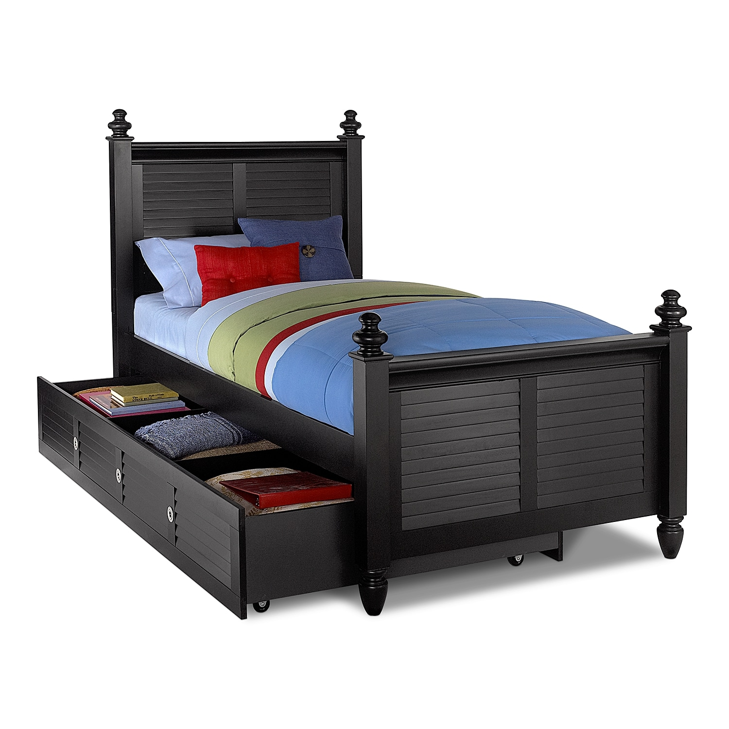 Good Seaside Twin Bed With Trundle   Black