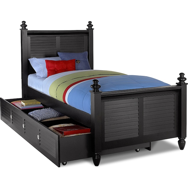 Kids Furniture - Seaside Twin Bed with Twin Trundle - Black