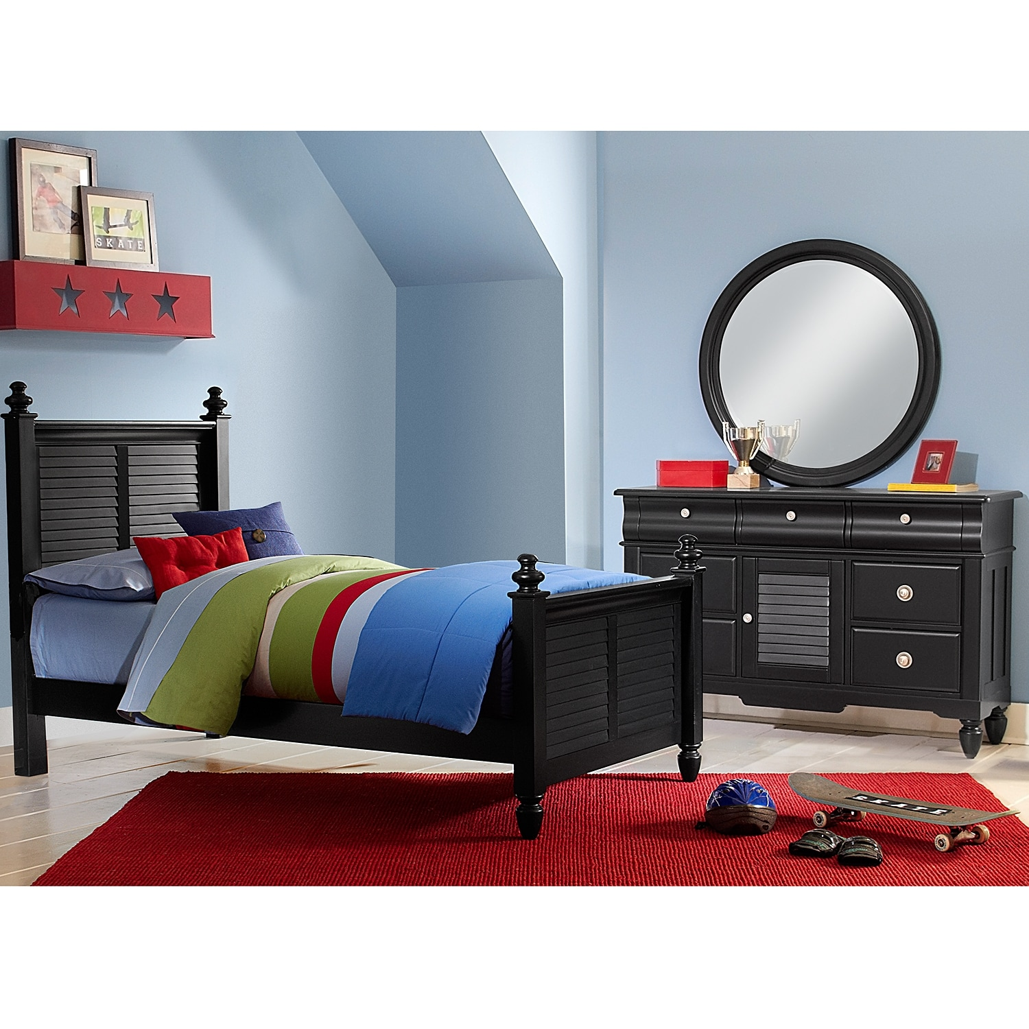 Kids Furniture - Seaside 5-Piece Twin Bedroom Set - Black