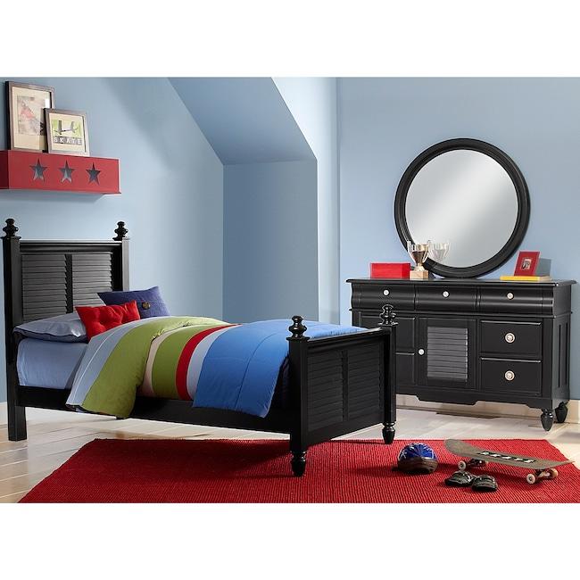 Kids Furniture - Seaside 5-Piece Twin Bedroom Set - Black