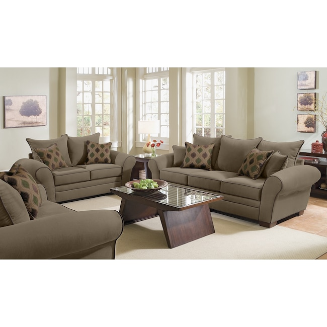 Living Room Furniture - Rendezvous Sofa and Loveseat Set - Olive