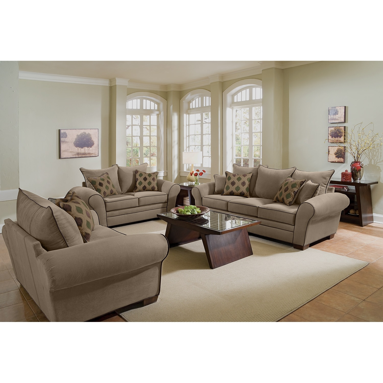 Tan Living Room Furniture Rendezvous Sofa Tan Value City Furniture