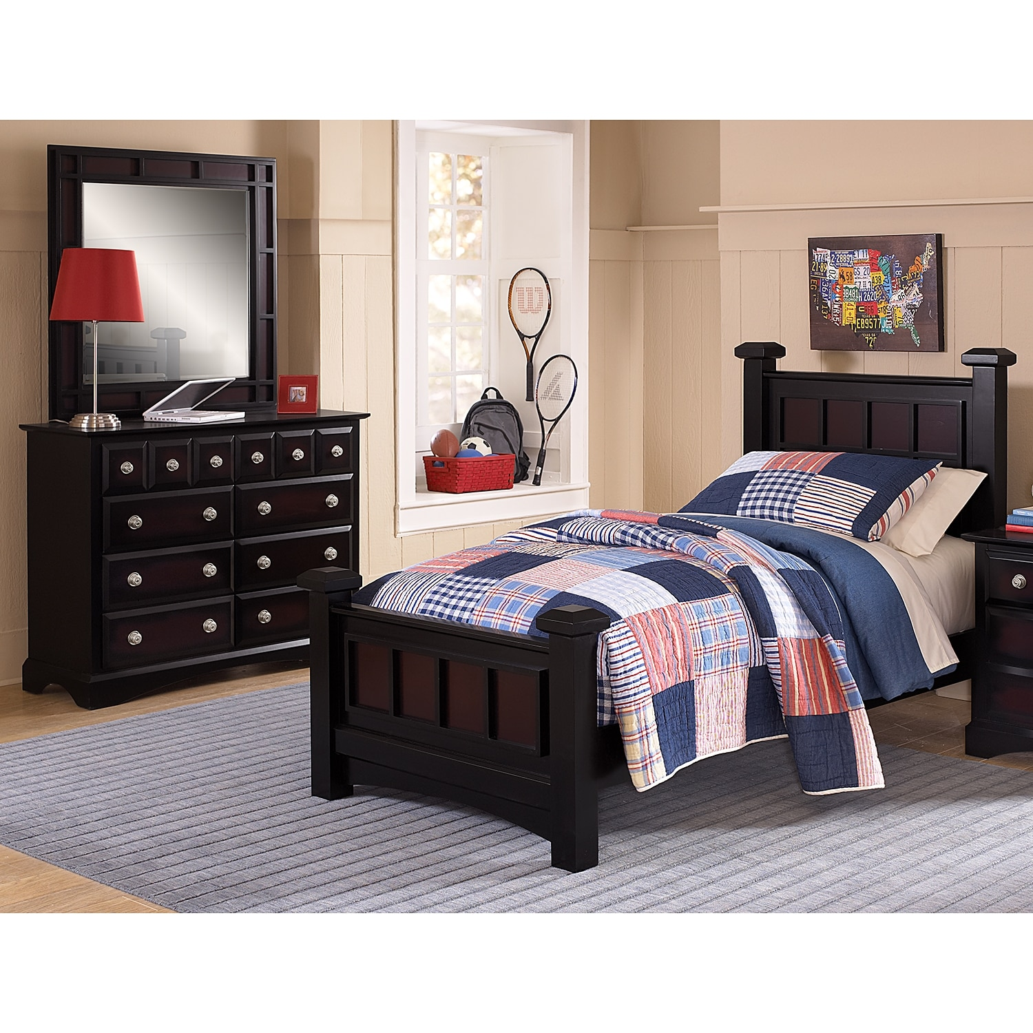 Bedroom Furniture Winchester 5 Piece Full Set Black And Burnished Merlot