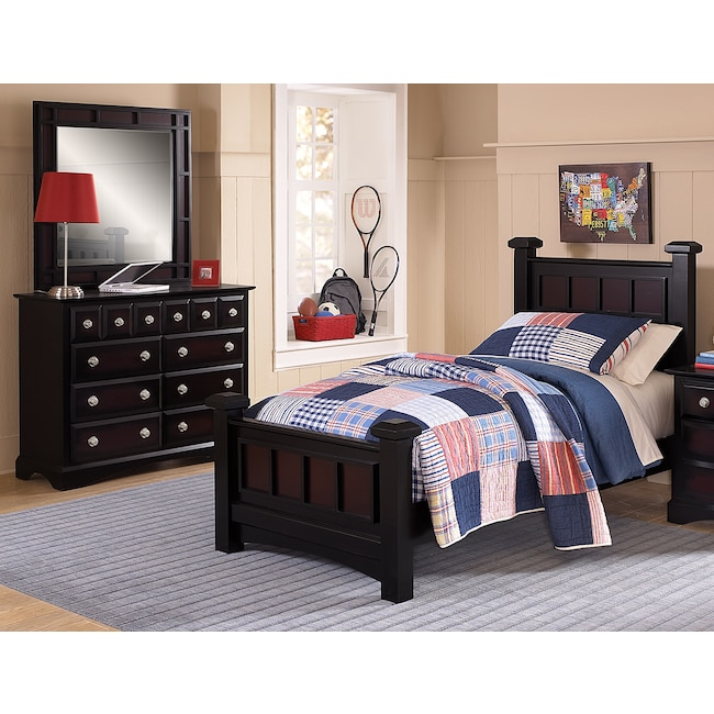 Kids Furniture - Winchester 5-Piece Full Bedroom Set - Black and Burnished Merlot