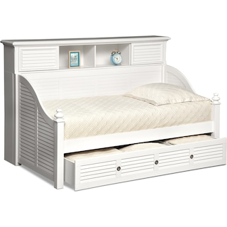 Seaside Twin Bookcase Daybed with Trundle - White