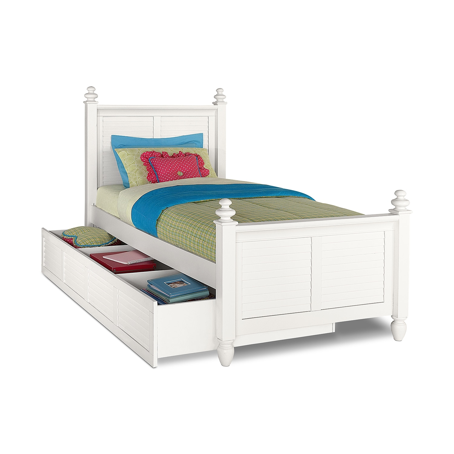 Seaside White Twin Bed with Trundle