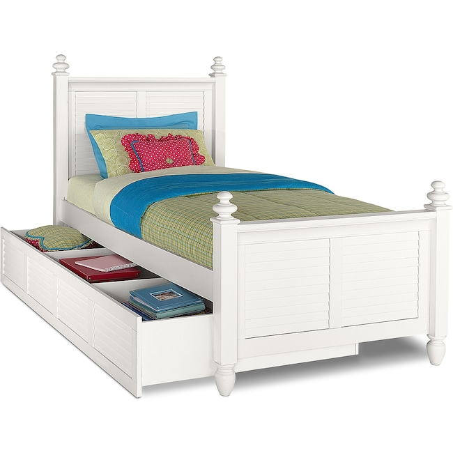 Kids Furniture - Seaside Twin Bed with Trundle - White