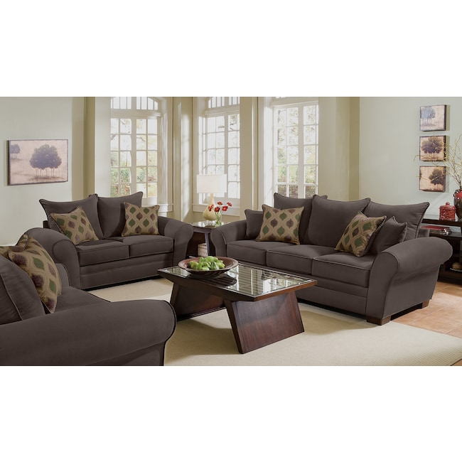 Living Room Furniture - Rendezvous Sofa and Loveseat Set - Chocolate