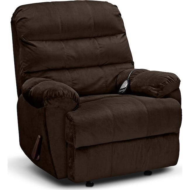 Living Room Furniture - Atlantic Massage Rocker Recliner - Chocolate