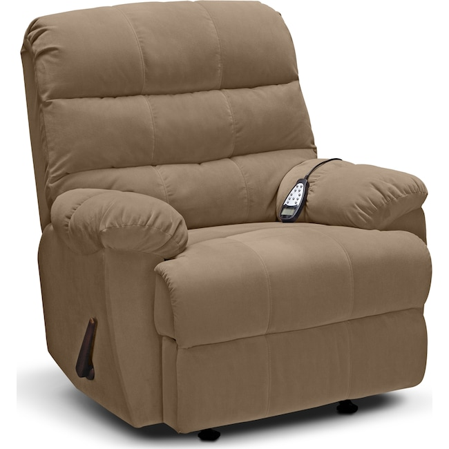 Living Room Furniture - Atlantic Massage Rocker Recliner - Camel