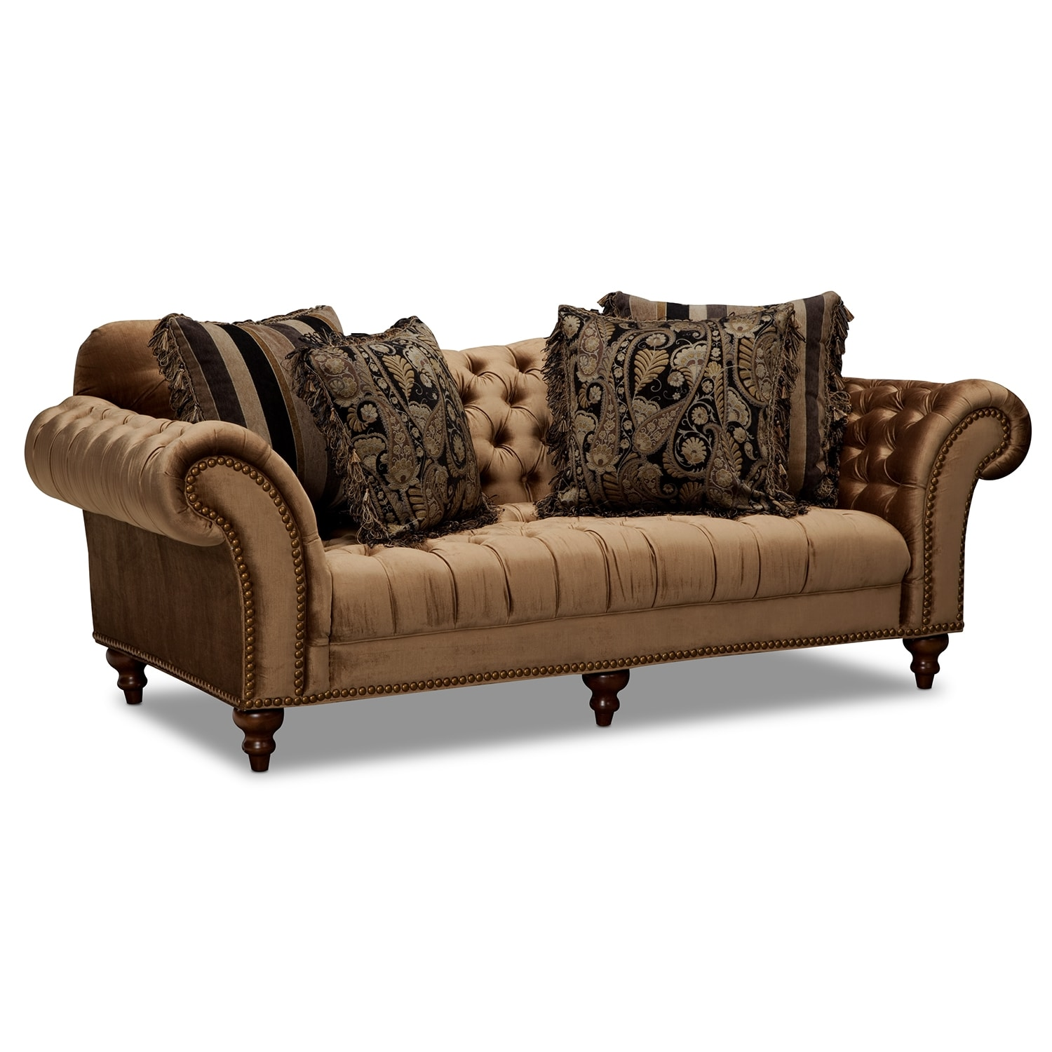 Brittney Sofa Bronze Value City Furniture And Mattresses