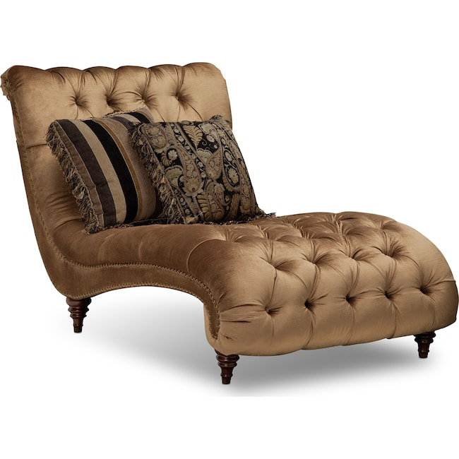 Living Room Furniture - Brittney Chaise - Bronze