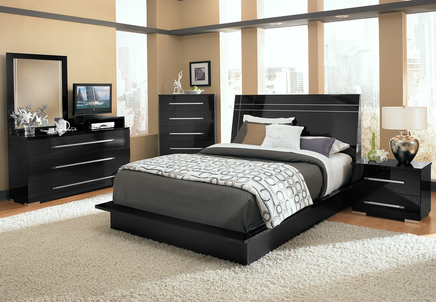 Dimora 7-Piece King Panel Bedroom with Media Dresser - Black